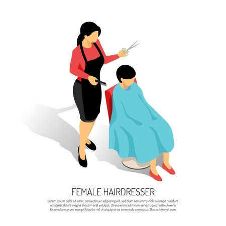 Female hair stylist with comb and scissors during work on white background isometric vector illustration