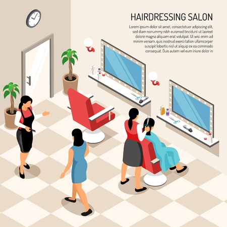 Hair dressing salon in beige color with stylists clients professional equipment and interior objects isometric vector illustration Vector Illustration
