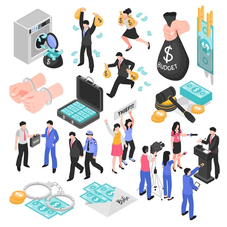 La corrupción y la deshonestidad establecen los iconos decorativos isométricos que representan los negocios y la política de jueces corruptos, la malversación y el soborno, ilustración vectorial aislada