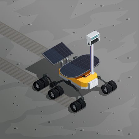 Mars exploration isometric background with image of robotic moving on planet  surface vector illustration
