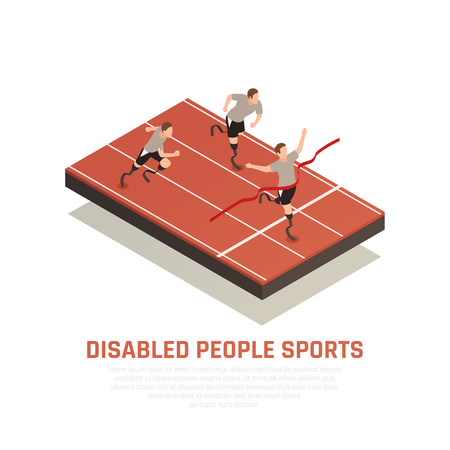 Disabled people sport isometric composition with 3 amputee blade prosthesis runners men crossing finish line vector illustration
