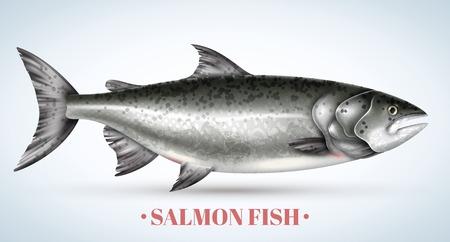 Pesce salmone realistico su sfondo chiaro illustrazione vettoriale