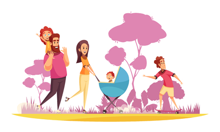 Family active holidays parents with kids during summer stroll on background of trees silhouettes cartoon vector illustration