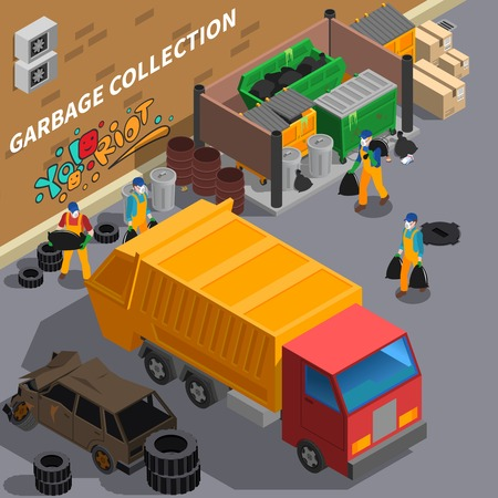 Garbage recycling isometric composition with outdoor view of rear yard with sanitation truck rubbish and workers vector illustration Ilustrace