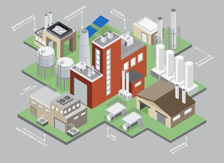 Industrial buildings isometric infographic set with factory and warehouse vector illustration