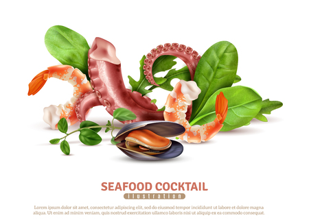 Appetizing seafood cocktail ingredients closeup realistic composition poster with shrimps octopus tentacles mussel basil leaves vector illustration