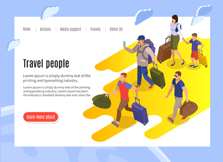 Travel people landing page with text information and isometric vector illustration of tardy passengers with baggage running to terminal Illustration