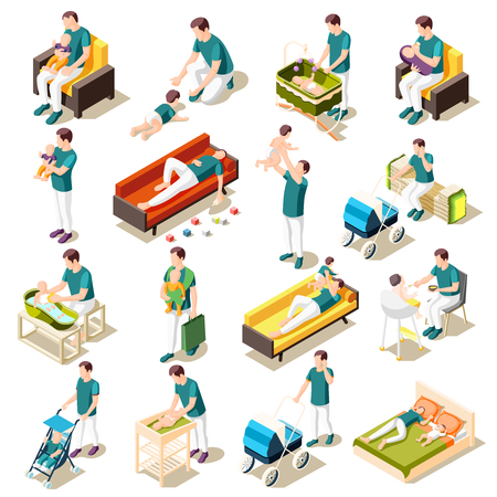 Fathers on maternity leave isometric icons set of parenthood daily routine joint games walks and rest isolated vector illustration