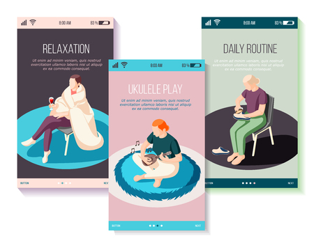 Weekends at home set of isometric mobile screens people during chores playing on ukulele relaxation vector illustration