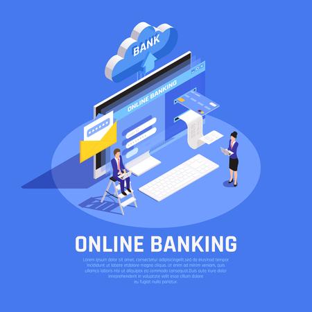 Composition isométrique des services bancaires par Internet avec connexion au compte en ligne carte de crédit stockage cloud service de sécurité illustration vectorielle de fond