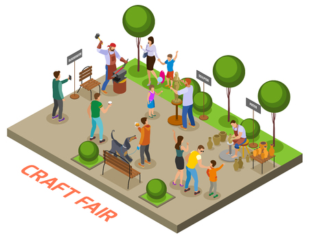 Seasonal outdoor craft fair event isometric composition with craftsmen demonstrating skills and selling handmade objects vector illustration