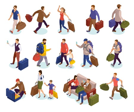 Travel people isolated icons set of characters with luggages waiting hurrying to land meeting arriving passengers isometric vector illustration