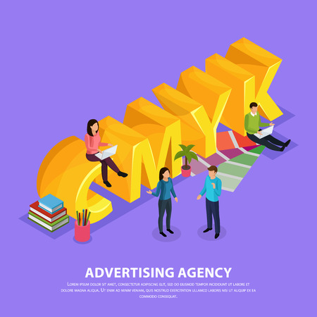 Staff of advertising agency during work near yellow inscription cmyk isometric composition on violet background vector illustration Illustration