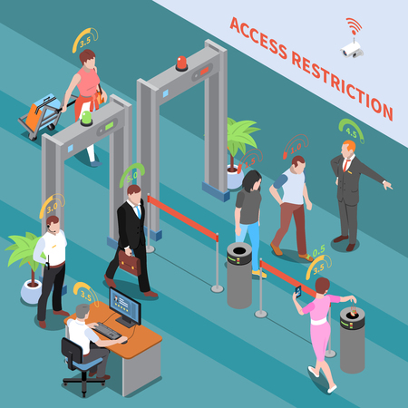 Social credit score system isometric composition with view of security checkpoint and people with rating digits vector illustration Illustration
