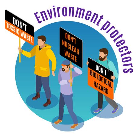 Giftmüllgefahr isometrisches Hintergrundkompositionsplakat mit Umweltaktivisten biologischen nuklearen Gefahren, die Märzvektorillustration warnen