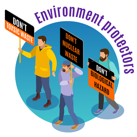 Toxic waste danger isometric background composition poster with environmental activists biological nuclear hazards warning march vector illustration