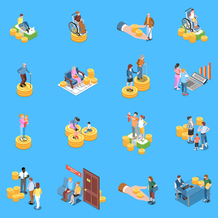 Social security unemployment benefits unconditional income isometric icons collection with isolated human characters and conceptual images vector illustration