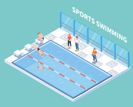 Athletes and trainers during sports swimming workout in public pool isometric composition on turquoise background vector illustration