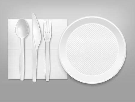 Jednorazowy biały plastikowy talerz sztućce nóż widelec łyżka na serwetce widok z góry realistyczna zastawa stołowa zestaw ilustracji wektorowych