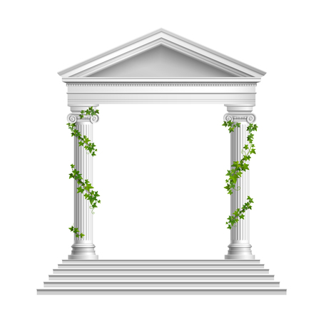 Realistic columns decorated green leaves with roof and base with stairs composition on white background vector illustration