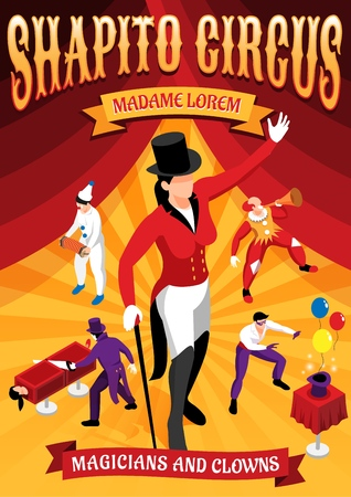 Circus professions isometric concept banner with magicians and clowns during performance on red yellow background vector illustration Illustration