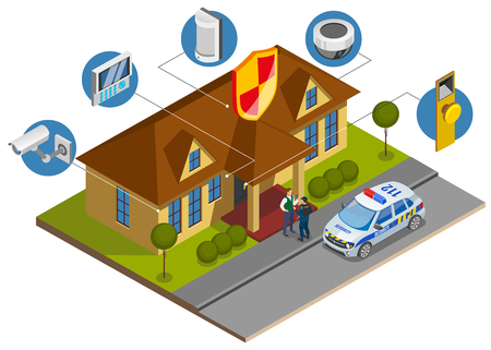 Composición isométrica de instalación del sistema de seguridad con símbolos de dispositivos de protección de edificios e ilustración de vector de llegada de oficial de servicio de vigilancia