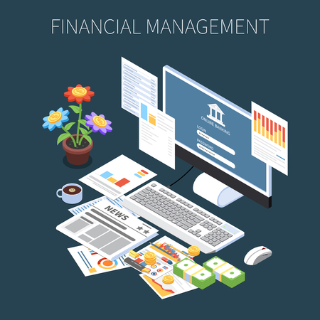 Financial management isometric composition with money economic information and online banking on dark background vector illustration