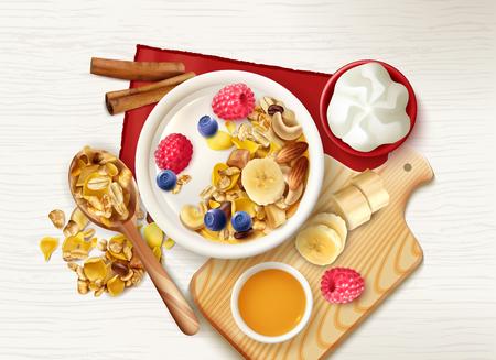 Fond de petit-déjeuner sain de fruits muesli réalistes avec vue de dessus de table avec cuillère de céréales et assiettes illustration vectorielle