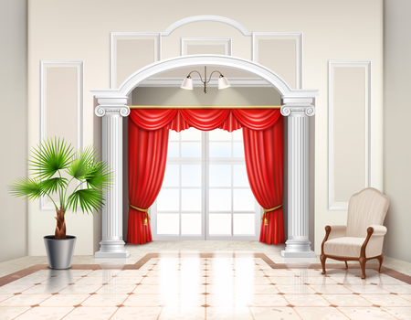 Realistic interior design in classic style with hellenistic columns french window and luxury red curtains vector illustration