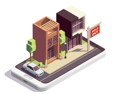 Townhouse buildings isometric composition with outdoor view of two modern dwelling houses with sold out sign vector illustration
