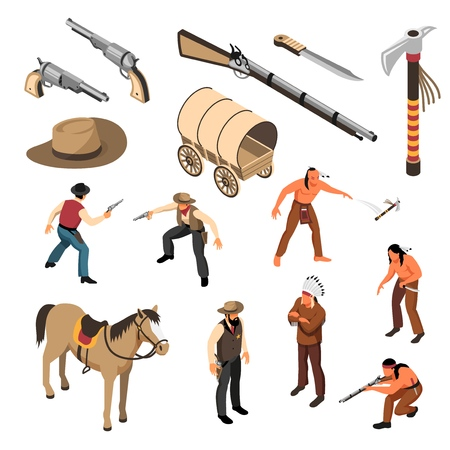 Wild west attributes of cowboys and native americans set of isometric icons isolated vector illustration