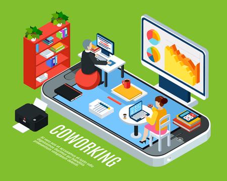 Concepto de fondo isométrico de personas de negocios con icono de teléfono inteligente y oficina de coworking con muebles de espacio de trabajo y empleados ilustración vectorial Ilustración de vector