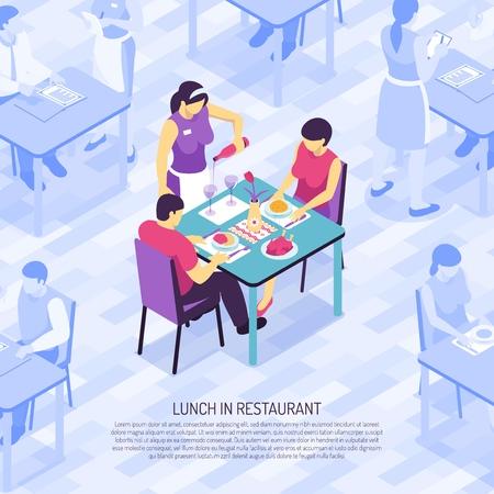 Restaurant waiter bottling wine in glasses during lunch of customers isometric vector illustration