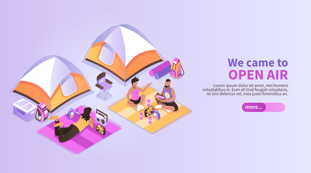 Summer music festival isometric background with people coming to open air listening music vector illustration