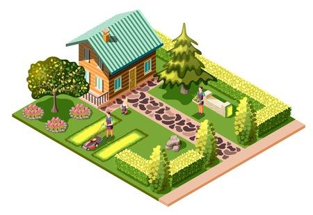Aménagement paysager composition isométrique avec maison d'habitation et entretien du jardin tonte de la pelouse soin des plantes illustration vectorielle