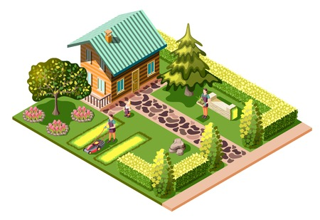 Landschapsarchitectuur isometrische compositie met woonhuis en onderhoud van tuin maaien gazon zorg over planten vectorillustratie
