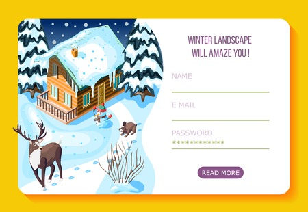 Winter landscaping wooden house and  trees in snow isometric web landing page with user account vector illustration