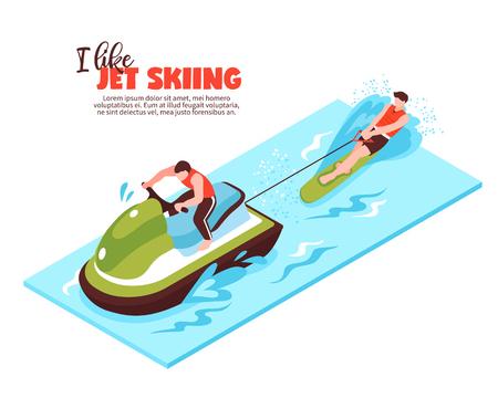 Concept de design isométrique de sport extrême avec bateau de remorquage et sportif engagé dans l'illustration vectorielle de ski nautique