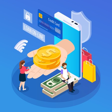 Online lending isometric composition customer with mobile device during getting loan on blue background vector illustration
