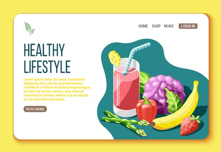 Healthy lifestyle isometric landing page with text and visual information about foods that are useful for body vector illustration Illusztráció
