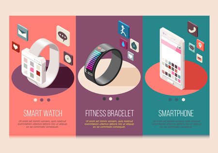 Portable electronics smart phone and watch fitness bracelet set of isometric compositions isolated vector illustration