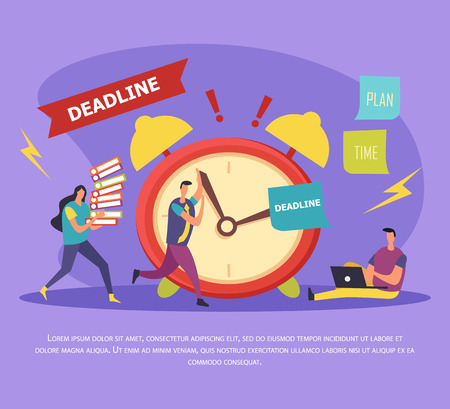 Work in deadline flat composition with stressed human characters near alarm clock on lilac background vector illustration