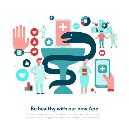 Digital medicine snake with bowl and set of medical icons on white background flat vector illustration