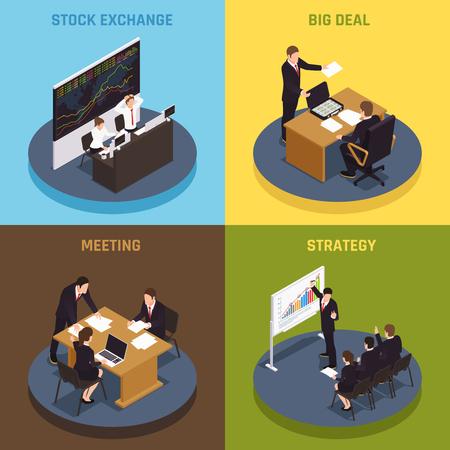 Konzept der Investitionsfinanzierung mit 4 isometrischen Symbolen mit Managern, die große Strategieverträge mit Börsenvektorillustration treffen Vektorgrafik