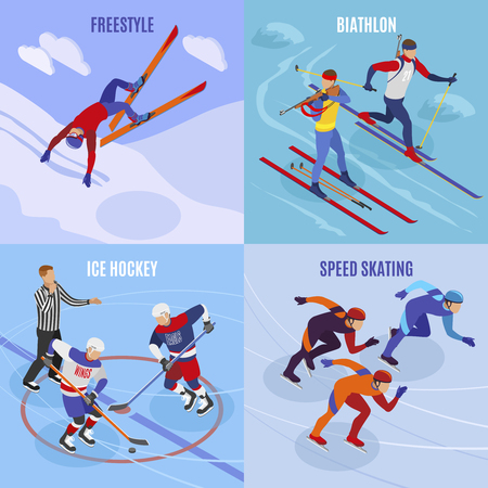 Winter sports 2x2 design concept set of freestyle speed skating ice hockey biathlon square icons isometric vector illustration