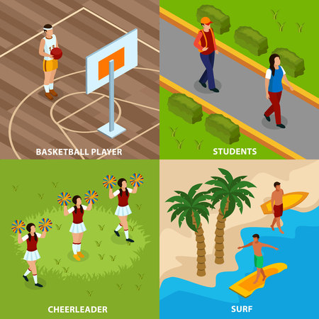 Professions of people isometric design concept with basketball player and surfers cheerleaders and students isolated vector illustration