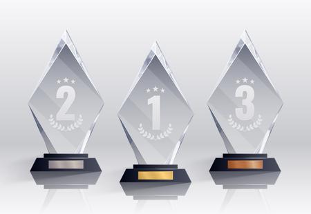 Competitietrofeeën realistische set met plaatsen symbolen geïsoleerde vectorillustratie