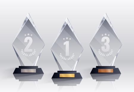 Competition trophies realistic set with places symbols isolated vector illustration
