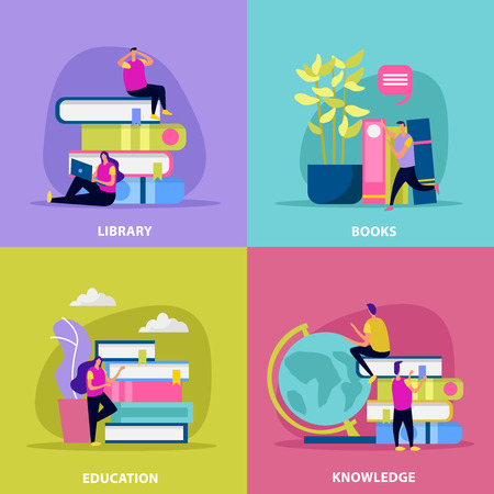 Library flat design concept with human characters books education and global knowledge isolated vector illustration