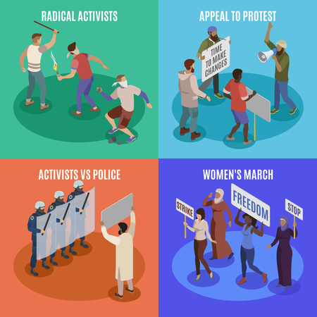 Activists 2x2 design concept set of appeal to protest women march radicals vs police square icons isometric vector illustration Illustration